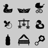 Vectorillustratie van baby en jonge geitjes geplaatst pictogrammen Royalty-vrije Stock Afbeeldingen