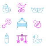 Vectorillustratie van baby en jonge geitjes geplaatst pictogrammen Stock Fotografie
