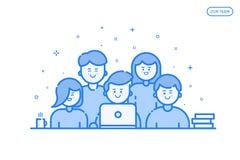 Vectorillustratie van banner in vlakke lijnstijl Concept ons team voor website en mobiele website Royalty-vrije Stock Foto's
