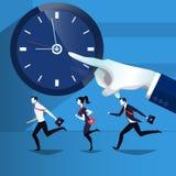 Vectorillustratie van bedrijfsmensen die de tijd de achterstand inlopen Stock Afbeelding