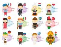 Vectorillustratie van beeldverhaalkarakters hello en onthaal die in 12 verschillende talen zeggen Stock Fotografie