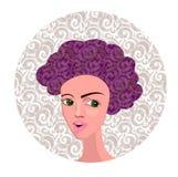 Vectorillustratie van Beeldverhaalmeisje met Krullend Haar Stock Afbeelding