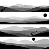 Vectorillustratie van berglandschap met zon en weg Stock Afbeelding