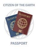 Vectorillustratie van biometrische paspoorten met bol Royalty-vrije Stock Fotografie