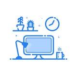 Vectorillustratie van blauw pictogram in vlakke lijnstijl De lineaire lamp van het computerbureau, bloemen Royalty-vrije Stock Afbeeldingen