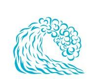Vectorillustratie van blauwe golf Zonnepaneel en teken voor alternatieve energie Het surfen Stock Afbeelding