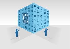 Vectorillustratie van blauwe grote gegevenskubus op grijze achtergrond Twee personen die grote gegevens en bedrijfsintelligentieg Stock Foto
