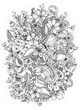 Vectorillustratie van bloemen zentangle, krabbel, zenart, patroon Volwassen Kleurende Boeken stock illustratie