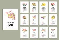 Vectorillustratie van bloemenkalender 2017 stock illustratie