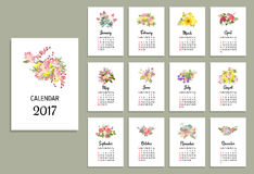 Vectorillustratie van bloemenkalender 2017 Royalty-vrije Stock Afbeeldingen