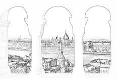 Vectorillustratie van Boedapest en het Hongaarse parlement vector illustratie