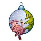 Vectorillustratie van bont-boom stuk speelgoed met grappig Royalty-vrije Stock Afbeeldingen