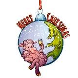 Vectorillustratie van bont-boom stuk speelgoed met grappig Stock Afbeeldingen