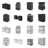 Vectorillustratie van bouw en de bouwembleem Reeks van bouw en landgoed vectorpictogram voor voorraad stock illustratie