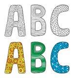 Vectorillustratie van brieven A B C met verschillend ornament vector illustratie