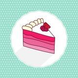 Vectorillustratie van cakestuk in beeldverhaalstijl Stock Afbeelding