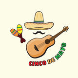 Vectorillustratie van Cinco de Mayo-vieringsachtergrond Stock Afbeeldingen