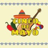 Vectorillustratie van Cinco de Mayo-vieringsachtergrond Stock Afbeelding
