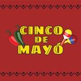 Vectorillustratie van Cinco de Mayo-vieringsachtergrond Stock Fotografie