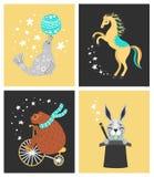 Vectorillustratie van circusdier Leuke beeldverhaalkarakters royalty-vrije illustratie