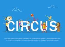Vectorillustratie van circusuitvoerders en dieren Circusbanner Royalty-vrije Stock Foto