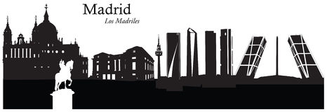 Vectorillustratie van cityscape horizon van Madrid, Spanje Stock Foto's