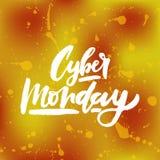 Vectorillustratie van Cyber-Maandagtekst voor kaartbanner Met de hand geschreven van de de maandagmarkering van kalligrafiecyber  Royalty-vrije Stock Afbeeldingen