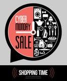 Vectorillustratie van cybermaandag - de tijd van de verkoop Royalty-vrije Stock Foto's