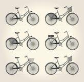Vectorillustratie van dames uitstekende fiets Stock Fotografie