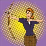 Vectorillustratie van dameschutter, retro pop-art grappige stijl royalty-vrije illustratie