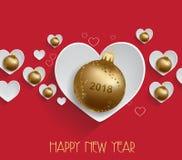 Vectorillustratie van de achtergrond van het Kerstmis 2018 hart met het goud van Kerstmisballen royalty-vrije illustratie