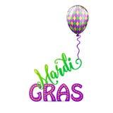 Vectorillustratie van de ballon van de graskleur van beeldverhaalmardi met wervelingslint Royalty-vrije Stock Foto