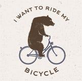 Vectorillustratie van de beer op fiets stock illustratie