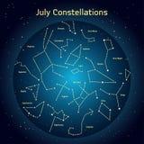 Vectorillustratie van de constellaties de nachthemel in Juli Gloeiend een donkerblauwe cirkel met sterren in ruimte Royalty-vrije Stock Afbeelding