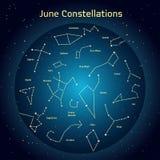 Vectorillustratie van de constellaties de nachthemel in Juni Gloeiend een donkerblauwe cirkel met sterren in ruimte Royalty-vrije Stock Afbeeldingen
