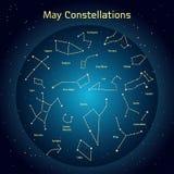 Vectorillustratie van de constellaties de nachthemel in Mei Gloeiend een donkerblauwe cirkel met sterren in ruimte Royalty-vrije Stock Fotografie