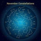 Vectorillustratie van de constellaties de nachthemel in November Gloeiend een donkerblauwe cirkel met sterren in ruimte Stock Afbeelding