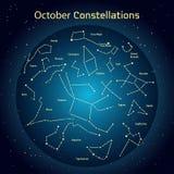 Vectorillustratie van de constellaties de nachthemel in Oktober Gloeiend een donkerblauwe cirkel met sterren in ruimte Royalty-vrije Stock Foto's