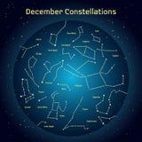 Vectorillustratie van de constellaties van de nachthemel in Desember Gloeiend een donkerblauwe cirkel met sterren in ruimte Royalty-vrije Stock Foto
