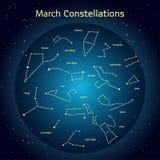 Vectorillustratie van de constellaties van de nachthemel in Maart Royalty-vrije Stock Foto's