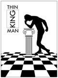 Vectorillustratie van de denkende man in een antieke zaal royalty-vrije illustratie