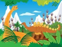 Vectorillustratie van de dinosaurussen de Voorhistorische Wereld Stock Fotografie