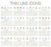 Vectorillustratie van de dunne pictogrammen van de lijnkleur Stock Foto