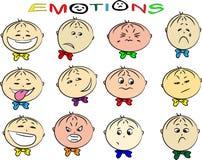 Vectorillustratie van de emoties van kinderen Stock Afbeelding