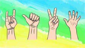 Vectorillustratie van de geïsoleerde gebaren door handen vector illustratie