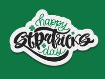 Vectorillustratie van de Gelukkige Dag van Heilige Patrick ` s logotype De hand schetste Iers vieringsontwerp Bierfestival die ty stock illustratie