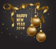 Vectorillustratie van de gelukkige nieuwe plaats van jaar 2019 gouden en zwarte collors voor de ballen van tekstkerstmis royalty-vrije illustratie