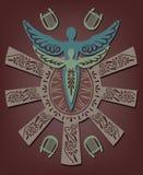 Vectorillustratie van de Griekse mythe Daedalus en Icarus Royalty-vrije Stock Foto