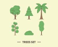 Vectorillustratie van de groene die bomen met a worden geplaatst Stock Afbeeldingen
