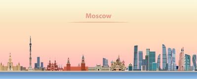 Vectorillustratie van de horizon van Moskou bij zonsopgang vector illustratie